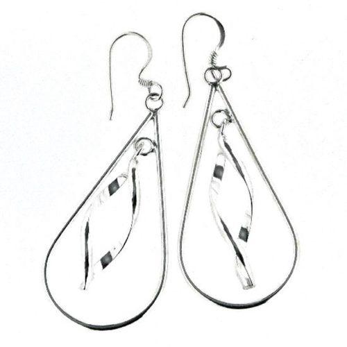 Ohrhänger in Tropfenform gedreht glanz aus 925 Silber AE-1308