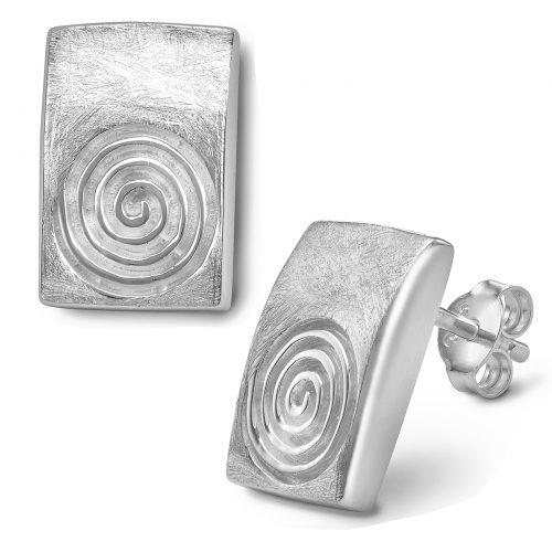 Ohrstecker Rechteck Spirale, Schnecke in matt gebürstet, eiskratz aus 925 Sterling Silberr CE-131