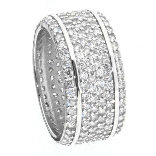 Ostheimer Schmuck Niefern Pforzheim Silberschmuck Band Ring mit Zirkonia rundum ausgefasst aus 925 Sterling Silber rhodiniert TR-005-1