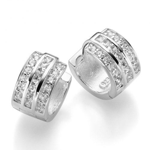 Schmuck Online Shop Klapp Creolen glanz mit weißen Kristallen aus 925er Silber CE-126-W