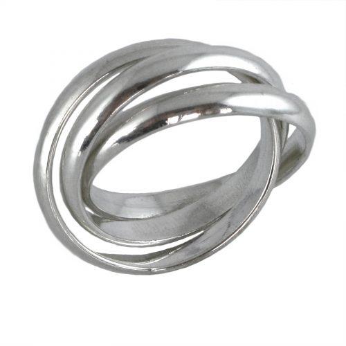 Ostheimer Goldschmied Pforzheim Silberschmuck 3er Ring, Triple Ring, Spielring in glanz aus 925 Sterling Silber AR-1505-10