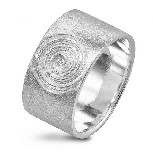Ostheimer Schmuck Niefern Pforzheim Silberschmuck Ring, Bandring, Spirale, Schnecke matt gebürstet, eiskratz aus 925 Sterling Silber CR-132-2