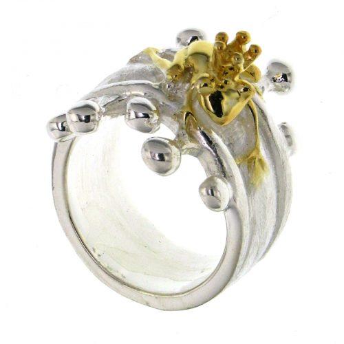 Ostheimer Schmuck Niefern Pforzheim Silberschmuck Ring in mattglanz mit Froschkönig vergoldet 24 mm breit aus 925 Sterling Silber AR-1417-5-1